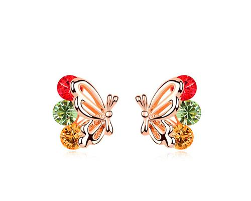 Charming Rainbow Butterfly Stud Earrings