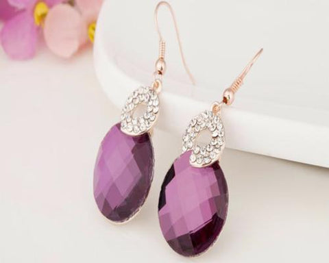 Noble Purple Crystal Hook Earrings