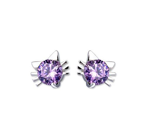 Lovely Cat 925 Sterling Silver Bling Crystal Stud Earrings - Purple