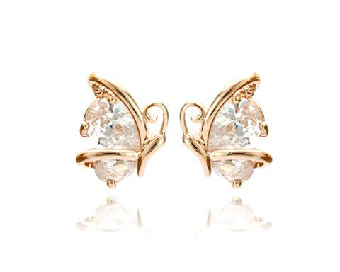 Rise Butterfly Crystal Stud Earrings for Women
