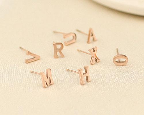 18K Gold Plated Personalized Initial Letter Stud Earring - A-Z