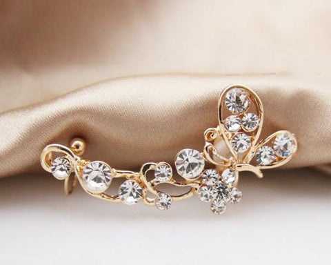 Temptation Butterfly Bling Crystal Gold Cuff Wrap Clip Earring