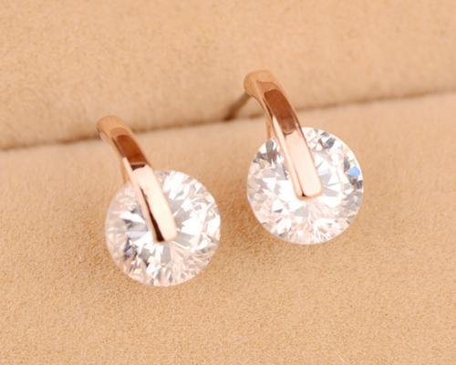 Chic Circle Crystal Stud Earrings for Women