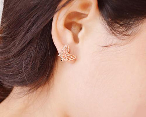 Hollow Butterfly Rose Gold Stud Earrings
