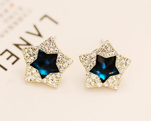 Multi Stars Blue Crystal Stud Earrings for Women