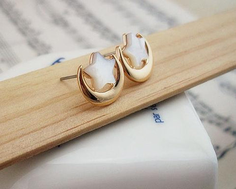 Shell Star And Moon Stud Earrings for Women