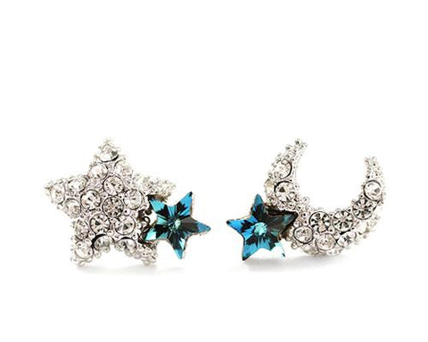 925 Sterling Silver Earrings Star And Moon Crystal Stud Earrings