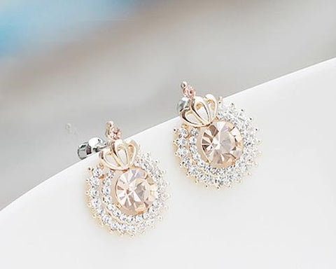Sweet Princess Crown Crystal Earrings for Women