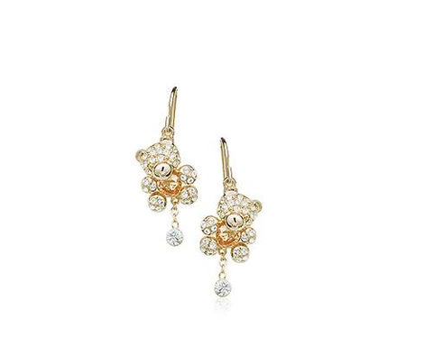 Teddy Pendant Bling Crystal Drop Earrings for Women