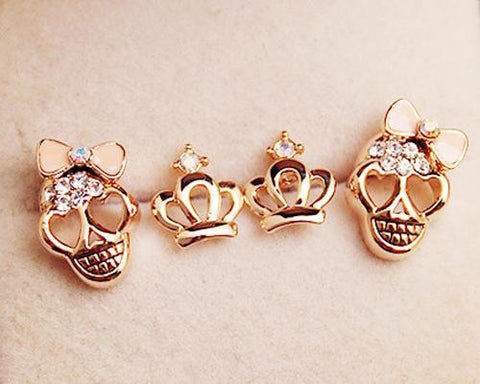Lovely Skull and Crown Stud Earrings