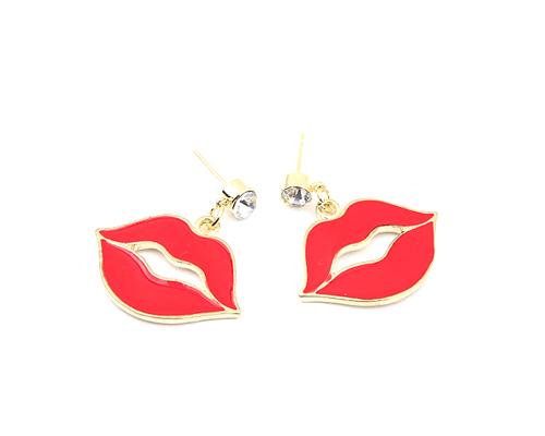 Sexy Cute Red Lips Crystal Stud Earrings for Women