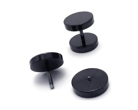 Unisex Titanium Steel Screw Ear Stud Faux Taper Round Earrings - Black