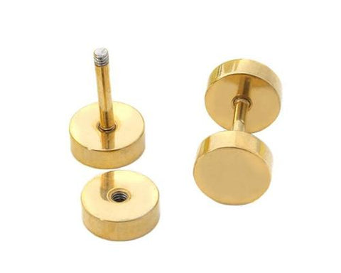 Unisex Titanium Steel Screw Ear Stud Faux Taper Round Earrings - Gold