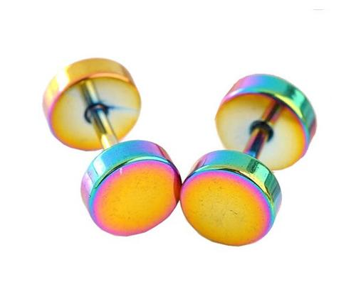 Unisex Titanium Steel Screw Ear Stud Faux Taper Round Earrings-Colors