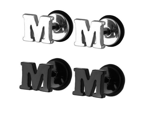 Titanium Alphabet Initial Stud Earrings A-Z