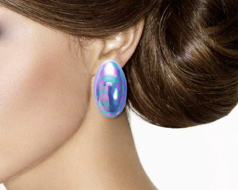 Vintage Oval Blue Tone Clip On Earrings for Girls