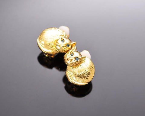 Lovely Gold Cat Crystal Clip Earrings Studs for Girls