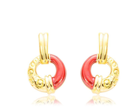 Gold Round Clip Earrings for Girls