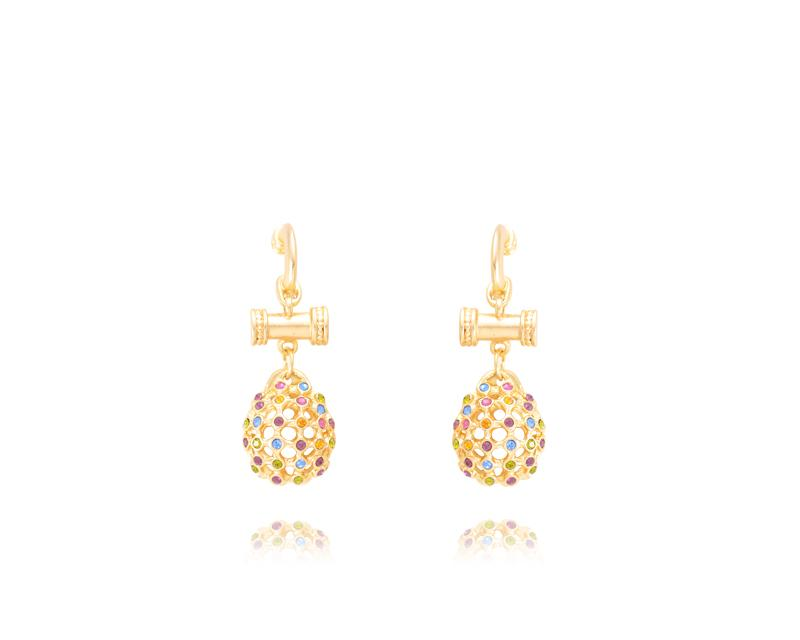 Colourful Gold Ball Drop Earrings