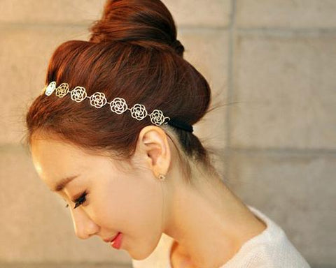 Lovely Rose Elastic Flower Headband - Gold