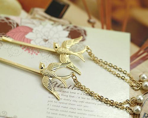 Lovely Gold Bird Pearl Hair Clip