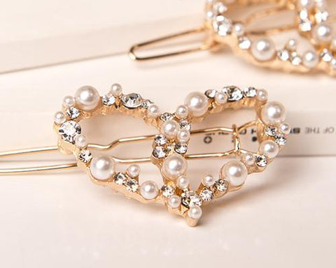 Lovely Gold Heart Pearl Hair Clip