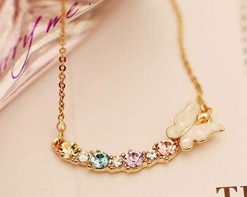 Fancy Butterfly Crystal Necklace