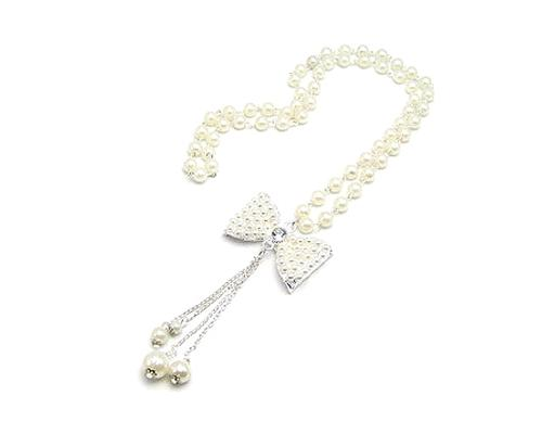 Sweet Bowknot Tassel Pendant Pearl Necklace
