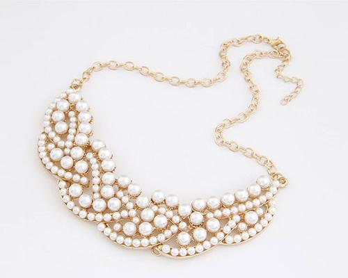 Waves of Pearl Collar Necklace