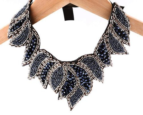 Vintage Leaf Black Beaded Collar Necklace