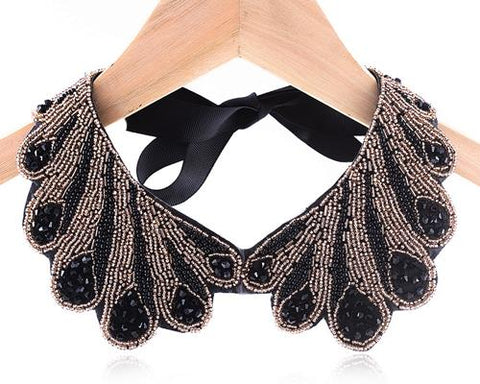 Vintage Peacock Black Beaded Collar Necklace
