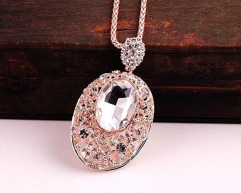 Sparkle Oval White Crystal Necklace