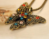 Vintage Butterfly Crystal Necklace
