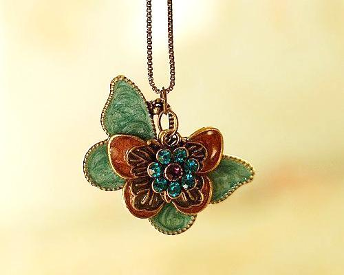 Vintage Butterfly Flower Crystal Necklace