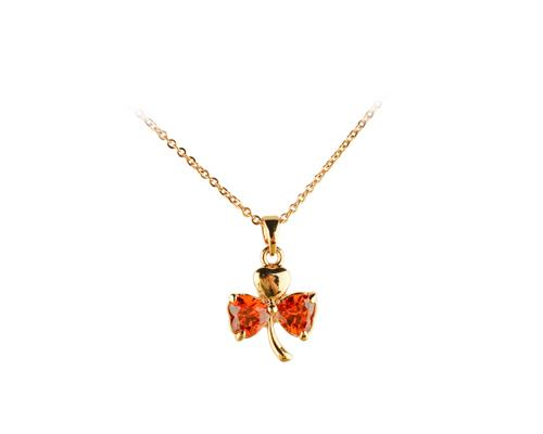 Three-leaf Clover Red Crystal Necklace