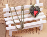 Vintage Bronze Red Heart Necklace