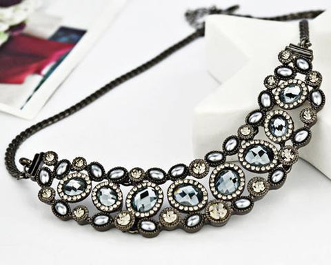 Vintage Gems Black Crystal Necklace