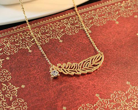 Golden Feather Crystal Necklace