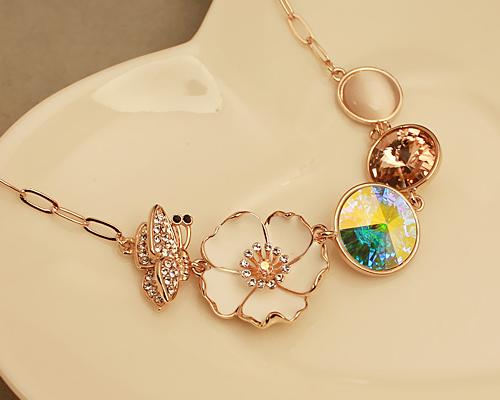 Flower Beauty Pageant Crystal Necklace