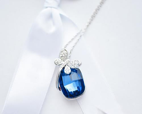 Blueness Dragonfly Crystal Necklace