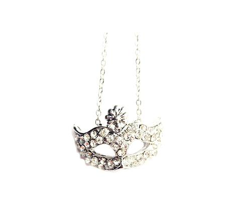 Mystic Mask Silver Crystal Necklace