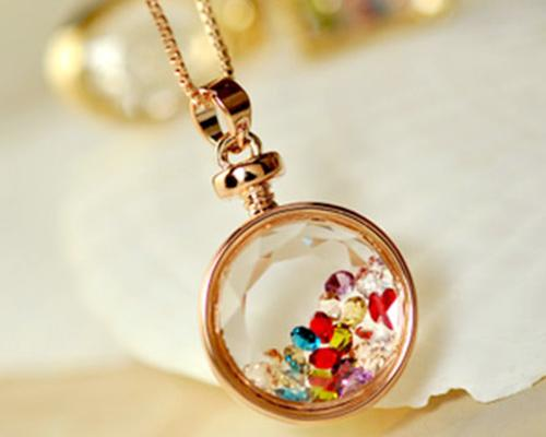 Round Perfume Wish Bottle Crystal Necklace
