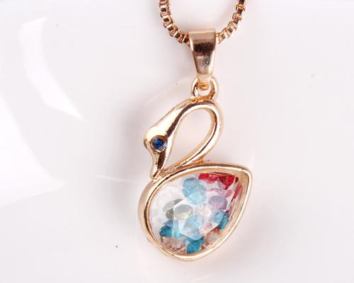 Swan Wish Bottle Crystal Necklace