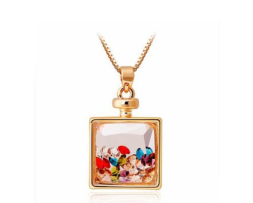 Square Perfume Wish Bottle Crystal Necklace