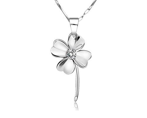 Four-leaf Clover 925 Sterling Silver Crystal Necklace
