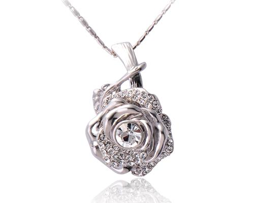 Chic Rose Crystal Necklace - Silver