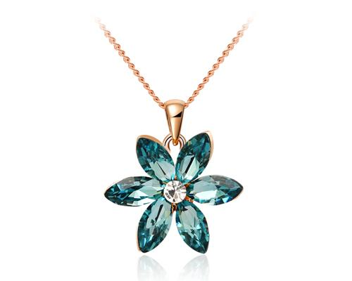 Lucky Six-leaf Flower Crystal Necklace