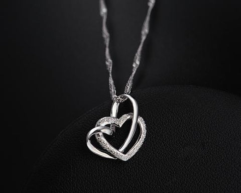 Chain Heart 925 Sterling Silver Necklace