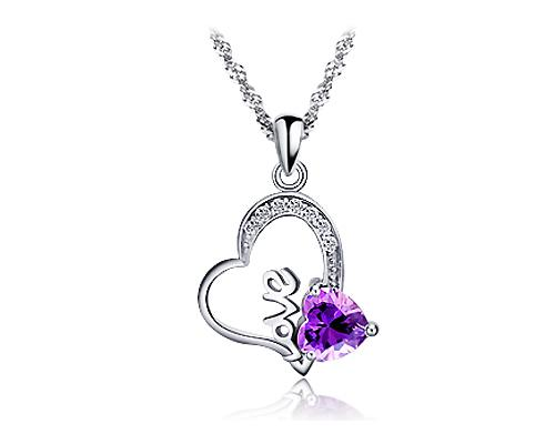 Forever Love 925 Sterling Silver Crystal Necklace