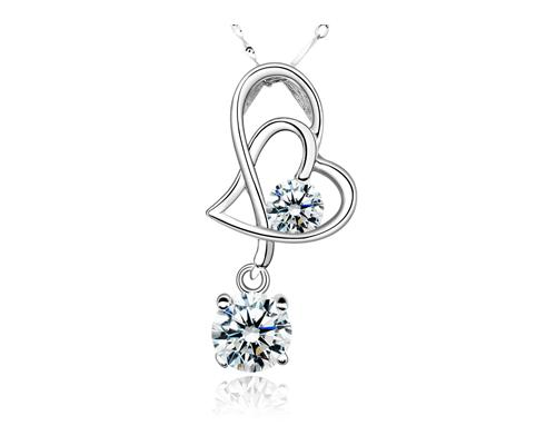 Elegant 925 Sterling Silver Bling Crystal Heart Necklace - White